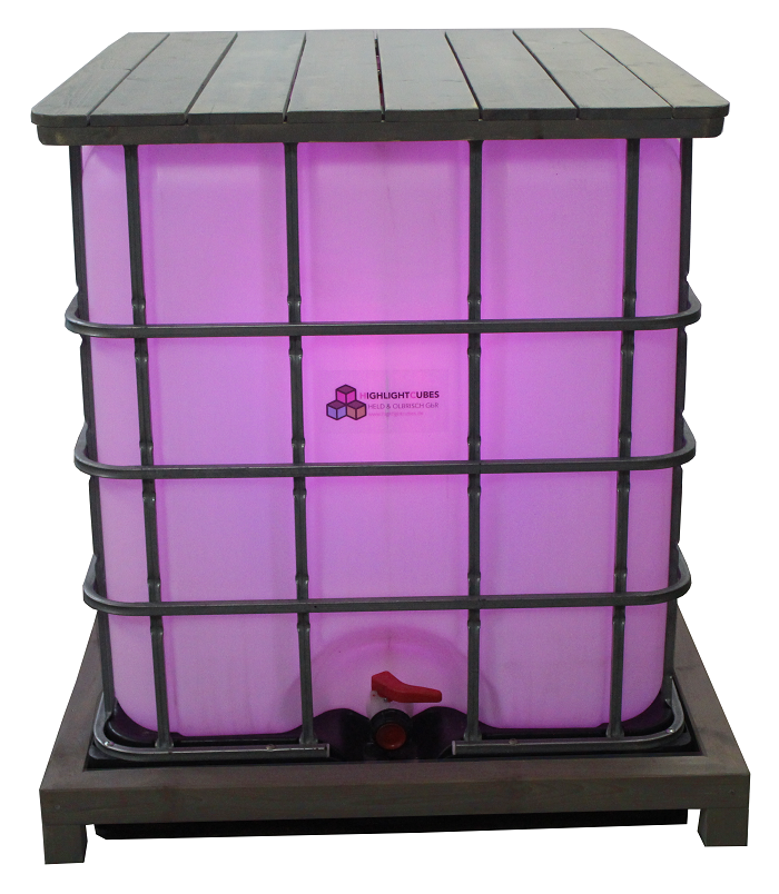 Stehtisch aus einem beleuchteten IBC Container