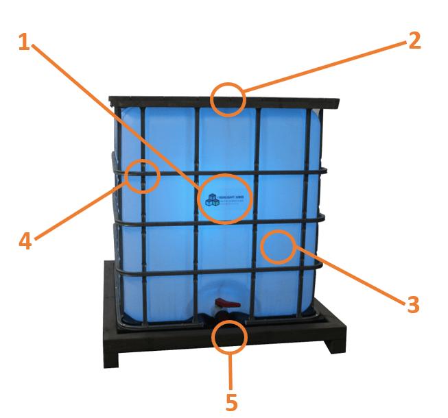 IBC mieten- beleuchteter IBC Container Stehtisch
